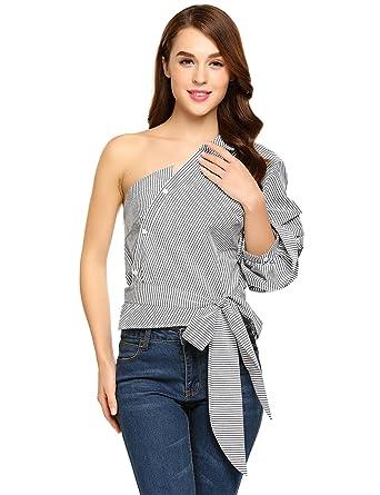 42da82522a1c04 BLUETIME Women s One Shoulder Striped Shirt Casual Blouse Side Tie Puff  Sleeve Plus Size