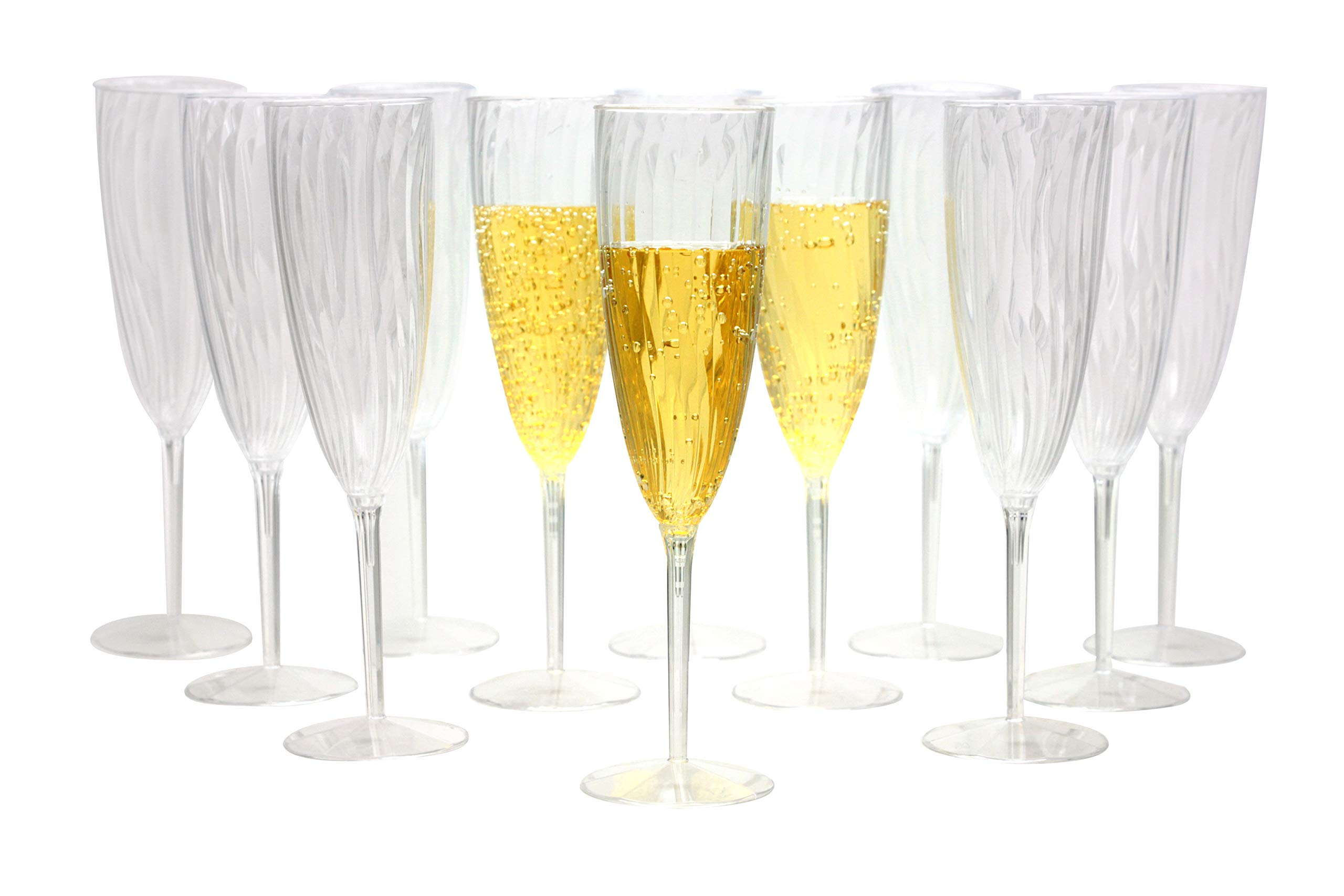 Premium Champagne Flutes 6 oz. Clear Hard Plastic Disposable Glasses, Value Box Set - 96 Count by Lillian Tablesettings
