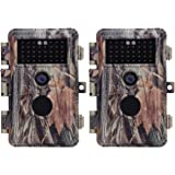 BlazeVideo 2-Pack 16MP Photo 1920x1080P Video Game & Trail Hunting Cameras Wildlife Deer Cam No Glow IR Motion Sensor Activated 0.6S Trigger IP66 Waterproof with 65ft Night Vision, Photo & Video Model
