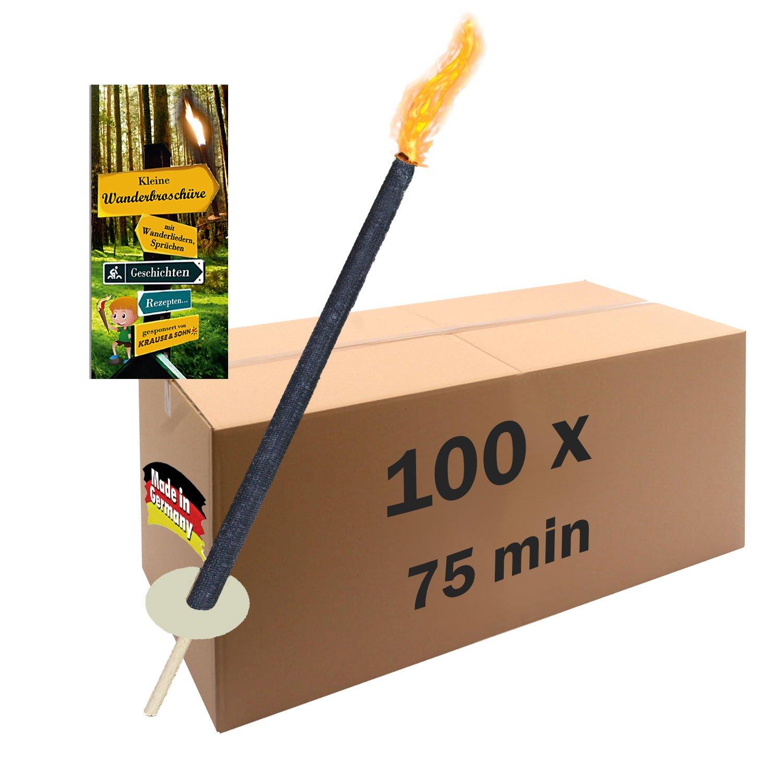 10 Fackeln Brenndauer 60 -75 min Wachsfackeln für den Fackellauf oder als Gartenfackel Krause & Sohn