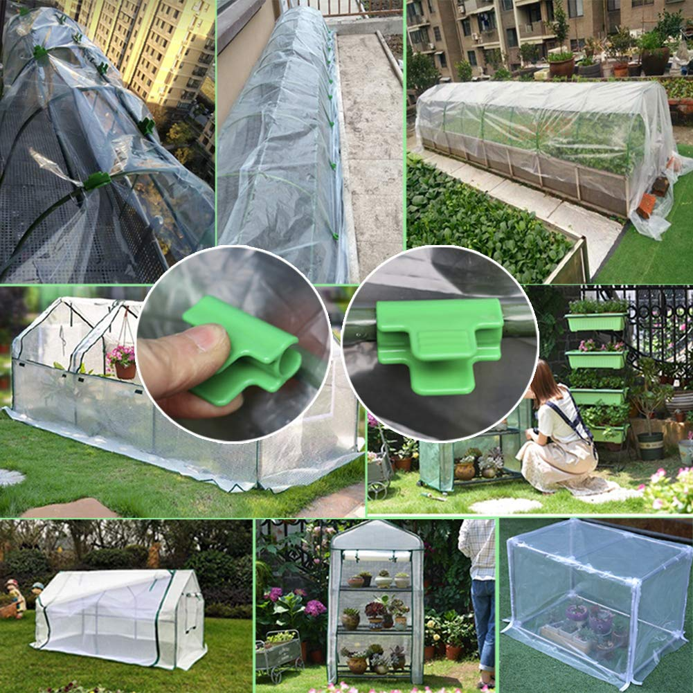 Plant Cover Netting Tunnel Hoop Clips Frost Blanket Shed Film Shading Net Rod Clip for 11mm//0.43 Plant Stakes Epaynetwork 24Pcs Greenhouse Pipe Clamps