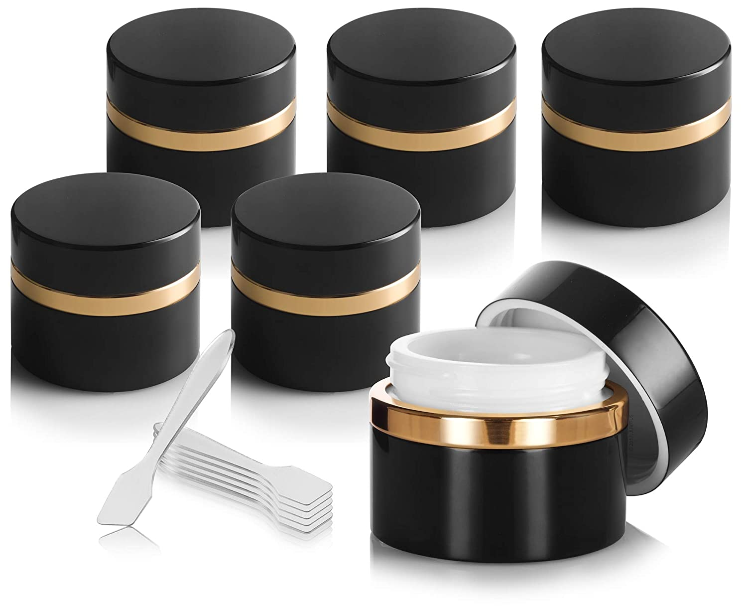Black Glass Professional Heavy Thick Wall Balm Jar with Gold Collar 6 PACK – 1.7 oz 50 ml Spatulas for beauty balms, ointments, skin cream, eye cream, moisturizers, and salves