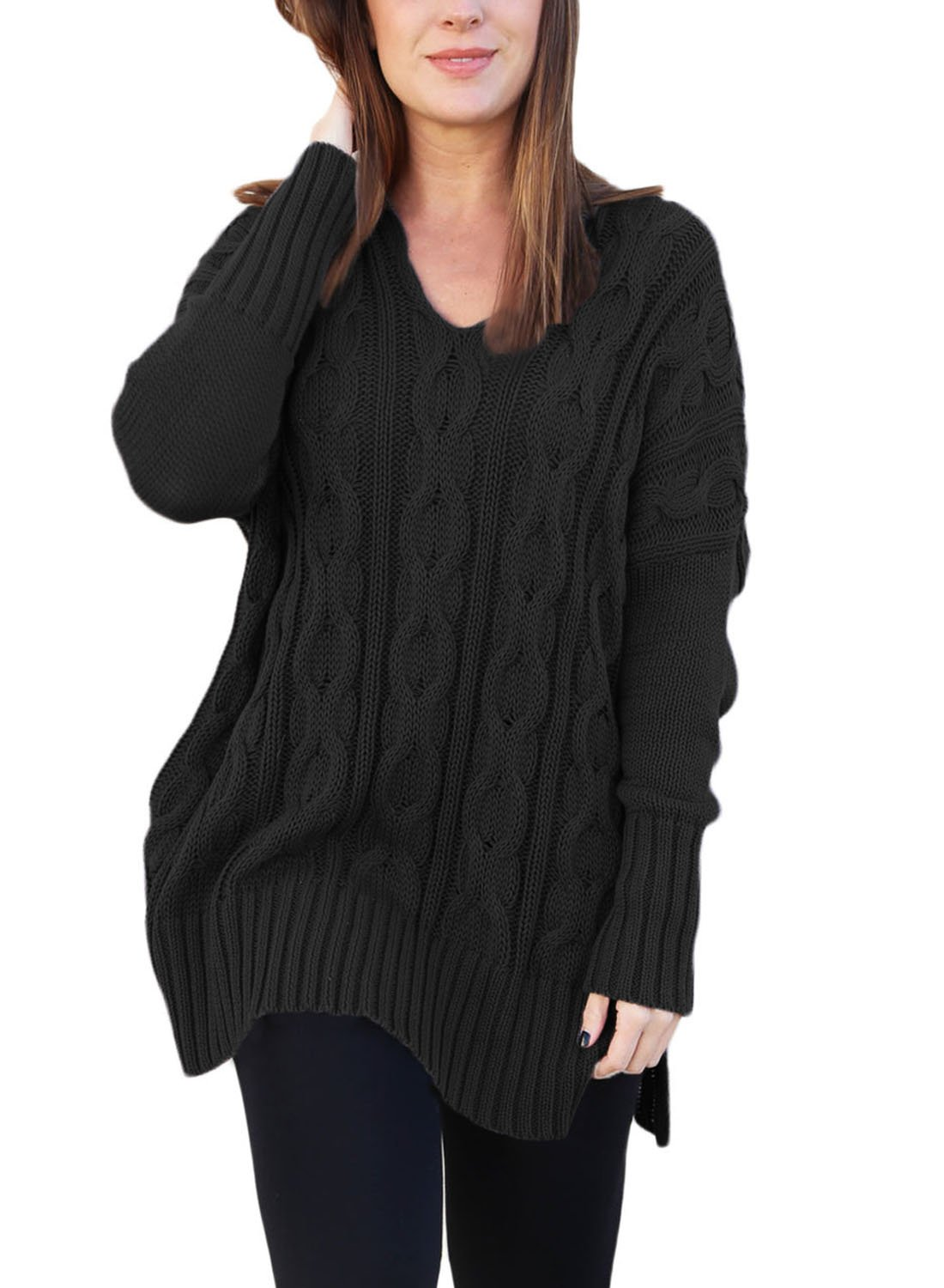 Sidefeel Women Casual V Neck Loose Fit Knit Sweater Pullover Top X-Large Black