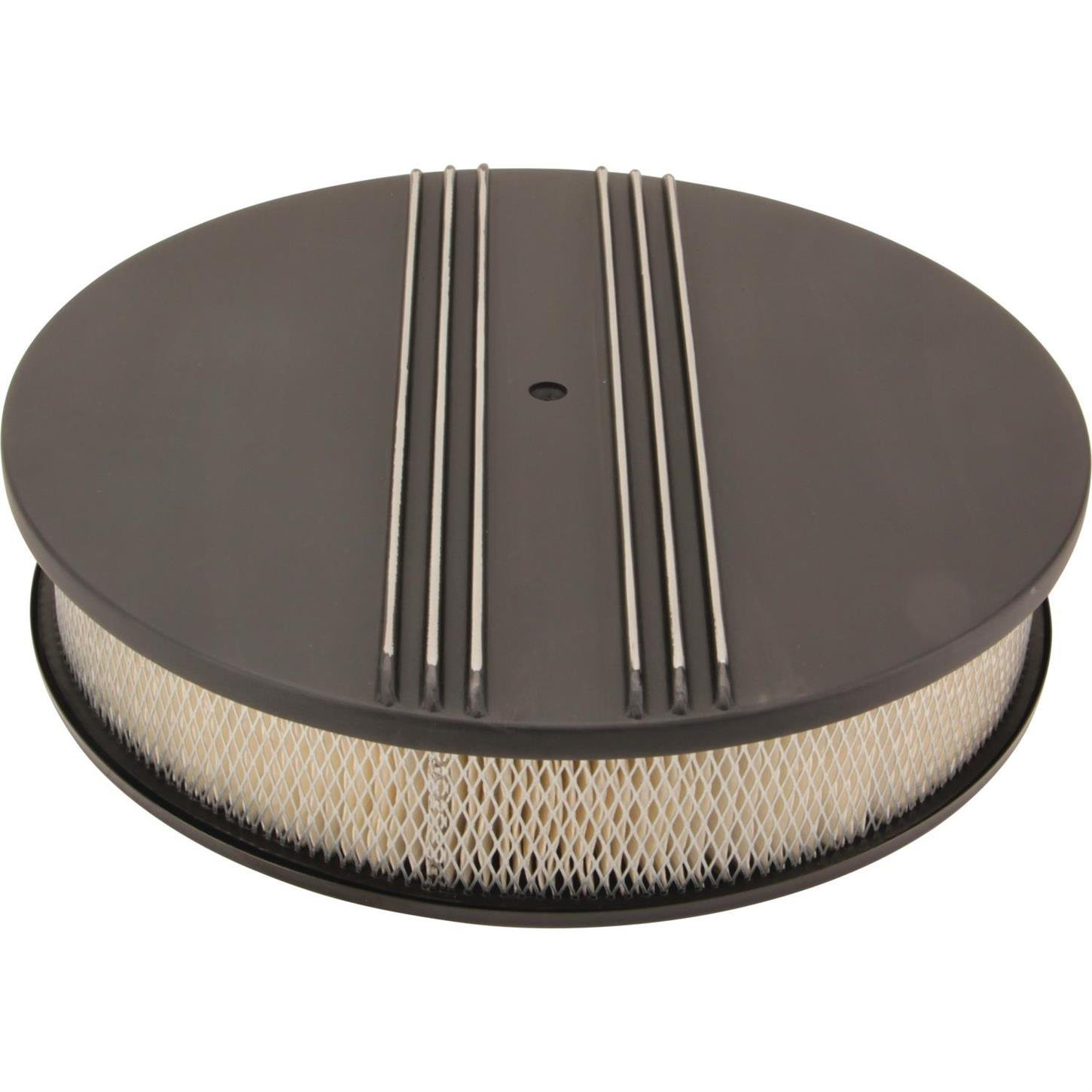 14 Inch Partial Finned Round Air Cleaner Set Black Aluminum