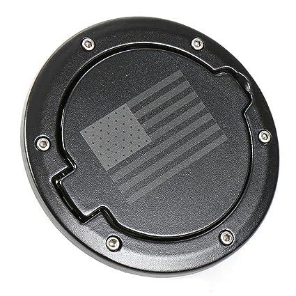 KUJOOY Fuel Filler Door Cover Gas Tank Cap 2//4 Door For Jeep Wrangler JK-Black USA Flag