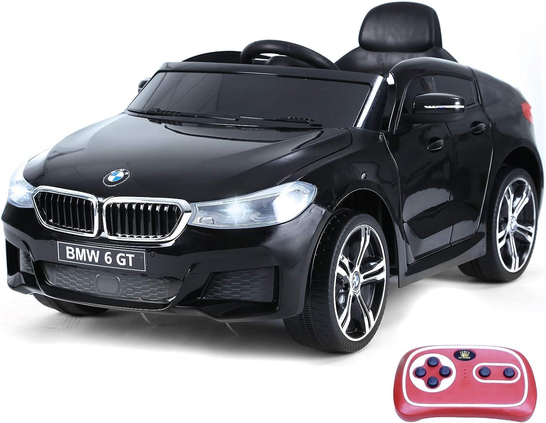 HOMCOM Compatible con Coche Eléctrico para Niño Automóvil Infantil 3-8 Años con Control Remoto Batería 6V Luces y Sonidos MP3 USB Apertura de Puerta Carga 30kg 106x64x51cm BMW 6GT