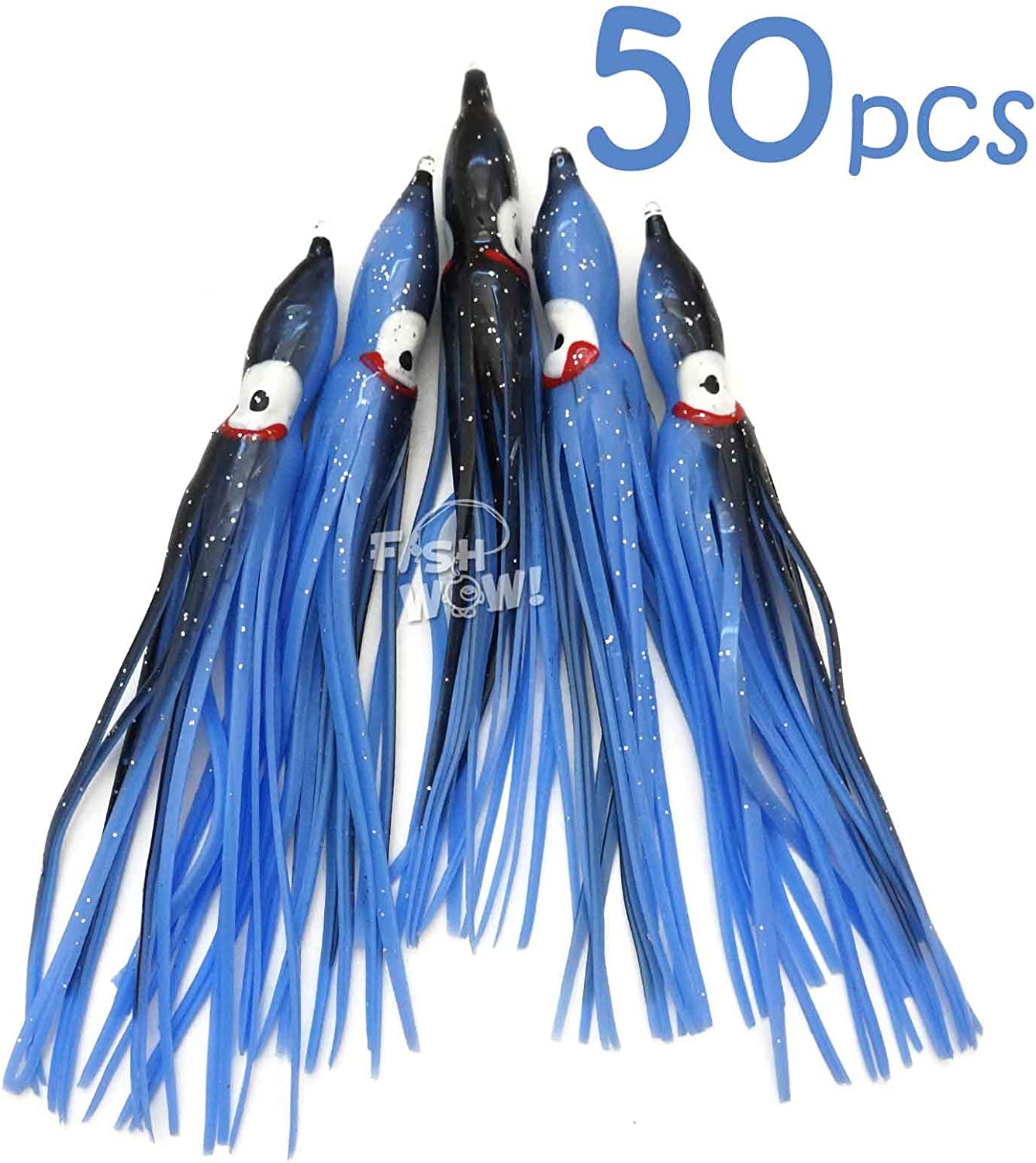 "Fish WOW 5/"" Squid Skirt Octopus Trolling Hoochies wave Lure lot White Blue Blac"