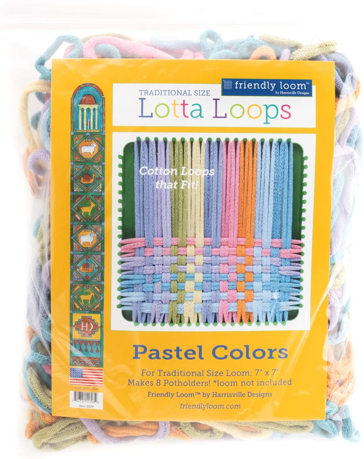 """Harrisville Designs Lotta Loops 7"""" Standard Size Pastel Cotton Loops Makes 8 Potholders, Weaving, Crafts For Kids and Adults-Assorted Colors"""