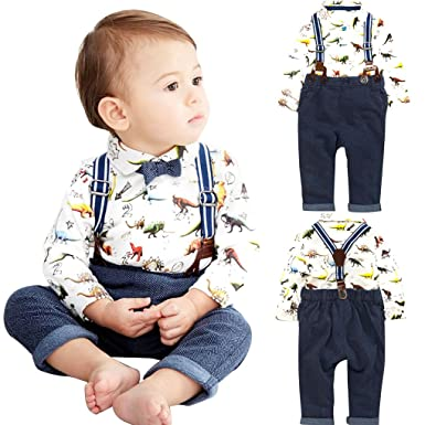 51a7373ac549d Carolilly Toddler Baby Boys 2Pcs Gentleman Long Sleeve Shirt Suspenders  Strap Shorts Formal Kids Party Outfit