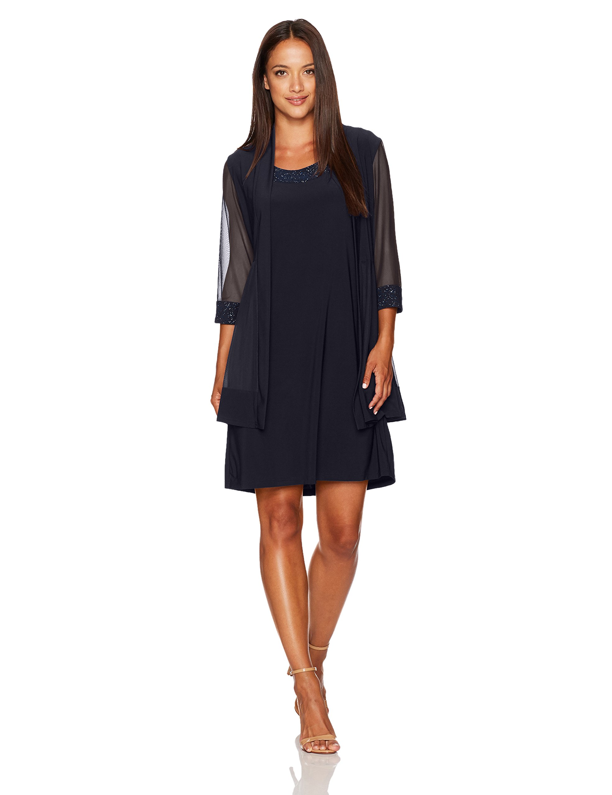R&M Richards Women's Petite Glitter Trim Jacket Dress, Navy,PL
