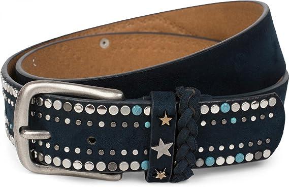 Damen 03010068 styleBREAKER Vintage Nieten G/ürtel mit Strass im 2-Tone Design und Ziernaht 2-farbig Glitzerg/ürtel