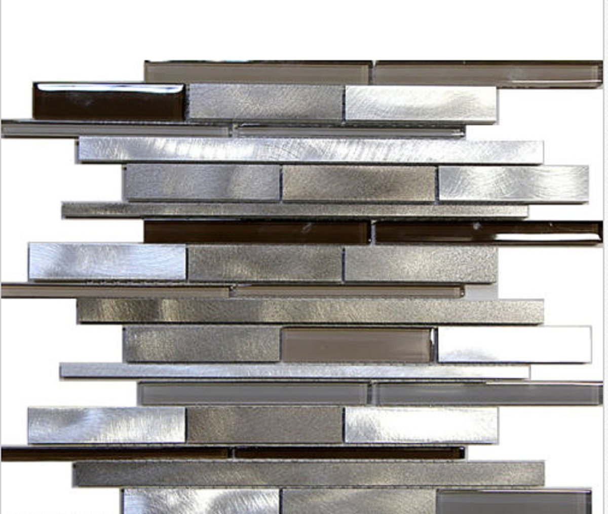 USA Premium Store 10 SF - Metal Stainless Steel Linear glass mosaic Tile Kitchen Backsplash Beige