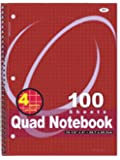 RAM-PRO 1 Quad-ruled Spiral Notebook 10-1/2 X 8 Inches, Assorted Color, 100 Count (007)