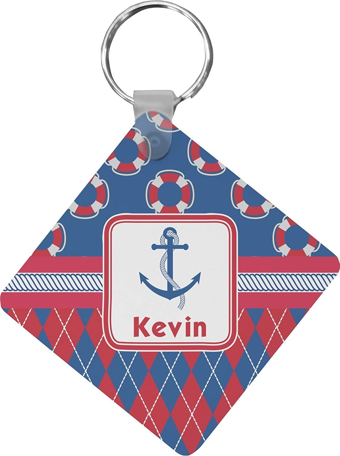 Buoy & Argyle Print Diamond Key Chain (Personalized)