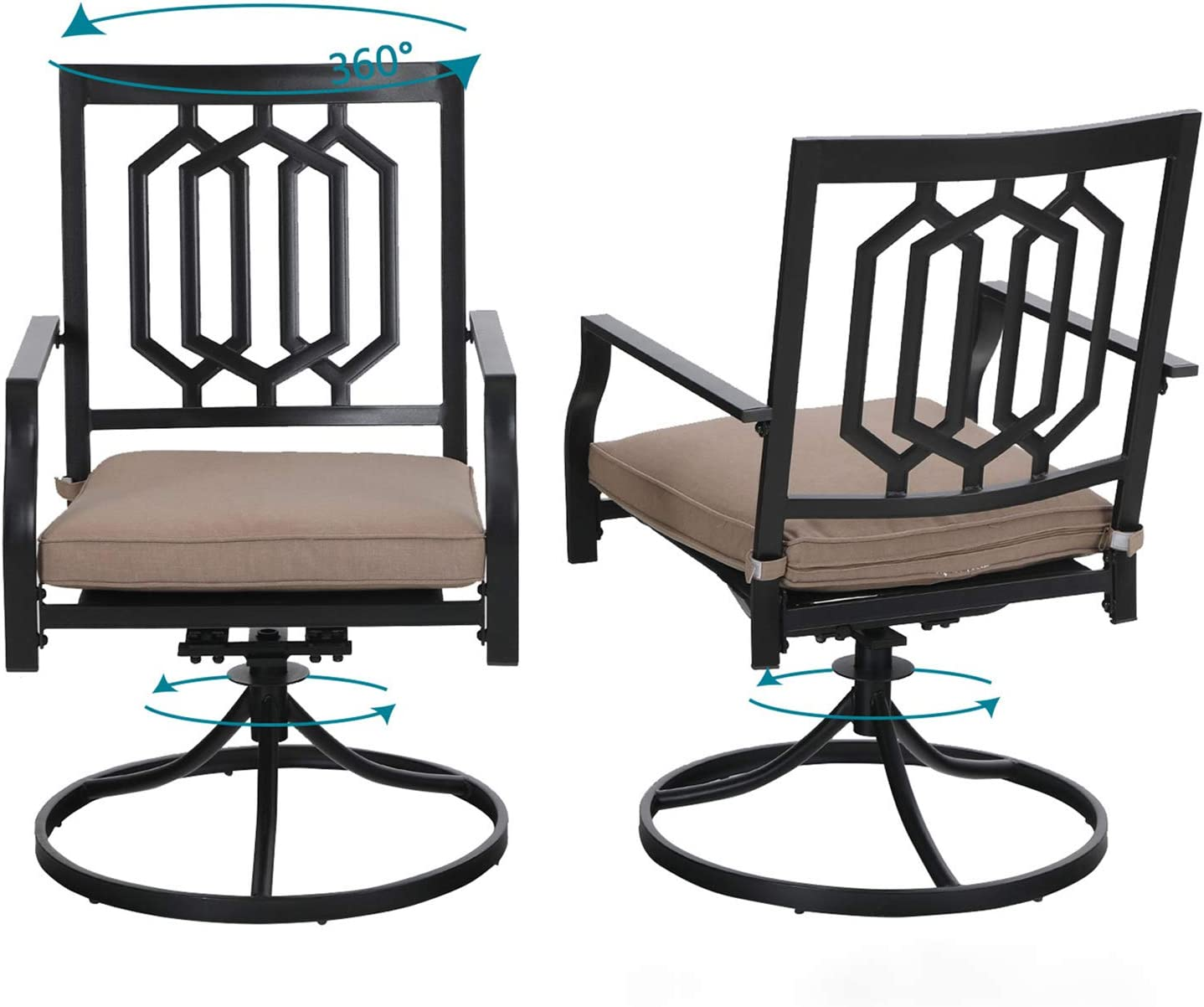 Sophia & William Outdoor Metal Swivel Chairs Set of 2 Patio Dining Rocker Chair with Cushion Furniture Set Support 300 lbs for Garden Backyard Bistro: Kitchen & Dining