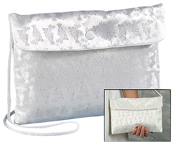 2eb007b7061d Religious Gifts First Communion White Satin Chalice Brocade Snap Button  Purse, 7 1/2 Inch