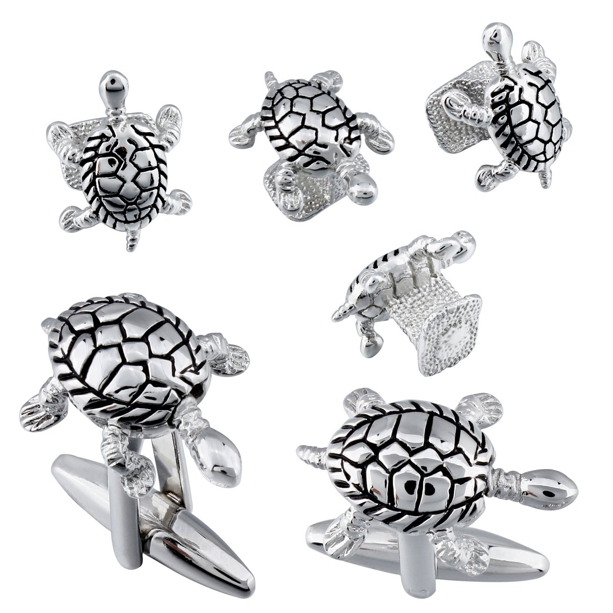 Mens Novelty Cufflinks and Studs Set for Tuxedo Siver Turtle Shape - Best Gift for Boys
