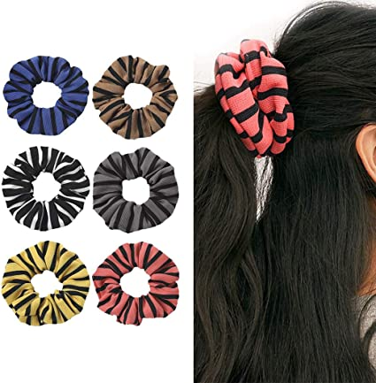 Genglass Vintage Hair Scrunchies Pink Hair Ties Striped Hair Rope Ponytail Holders Hair Accessories For Women And Girls Pack Of 3 Amazon Co Uk Beauty