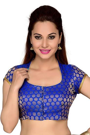 ad24f279af9f4b Studio Shringaar Women's Brocade High Neck Fancy Back Blouse with Tassels  (1842RB_36, Royal Blue
