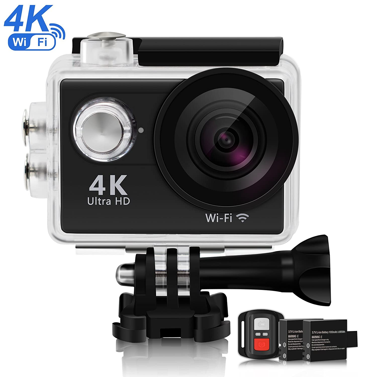 4K Sports Action Camera, SMBOX 620C (2018 New Version) 12MP WIFI Waterproof Cameras For Surfing Diving, Underwater 100FT, 170° Wide Angle Lens, Ultra HD Helmet Camera W/2 Batteries/2.4G Remote Control/19 Accessories 170° Wide Angle Lens