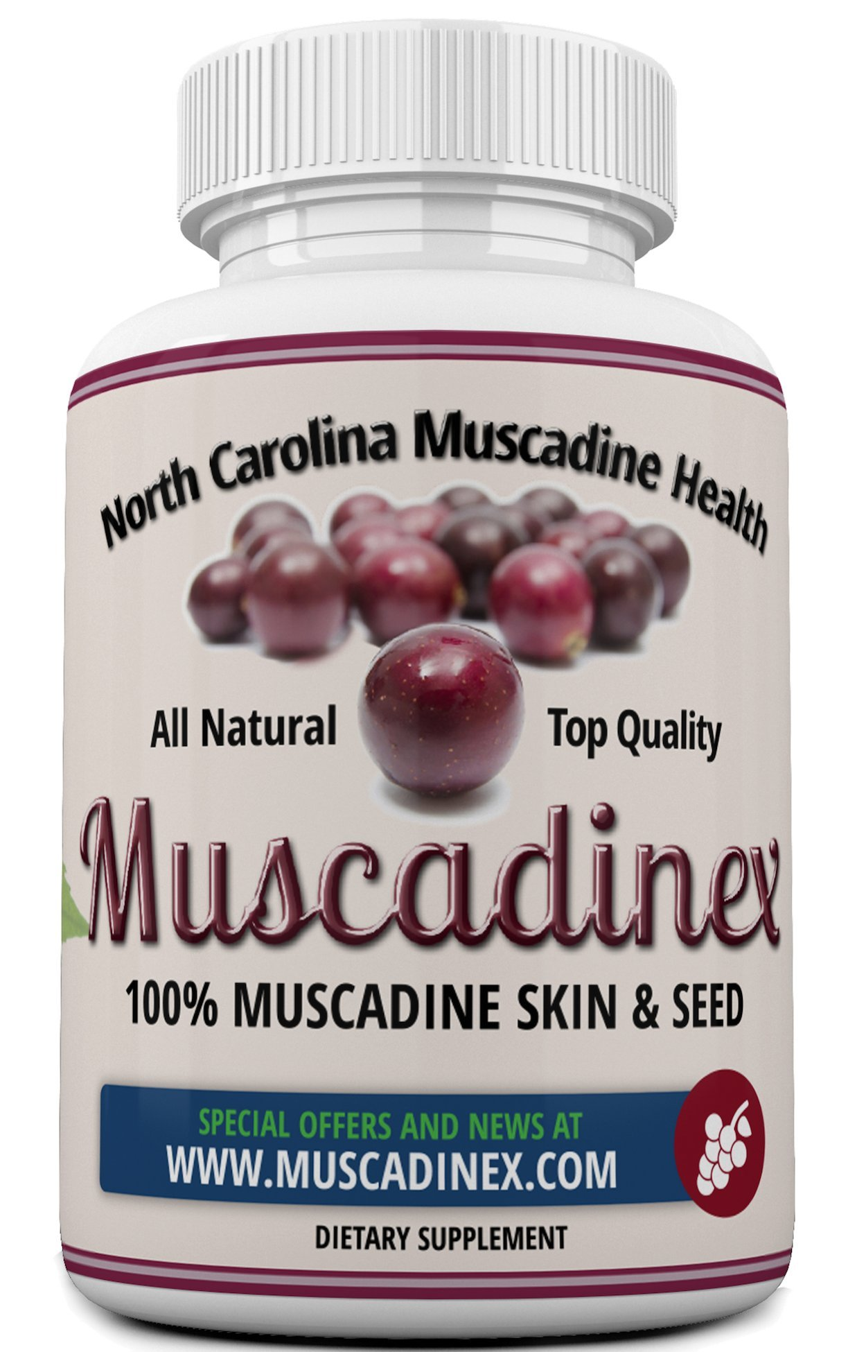 Muscadine grape 650mg. Plus 229% Resveratrol bioavailability boost with piperine pepper extract. The muscadine is America's strongest grape. Also has ellagic acid, quercetin and antioxidants. 60 caps.