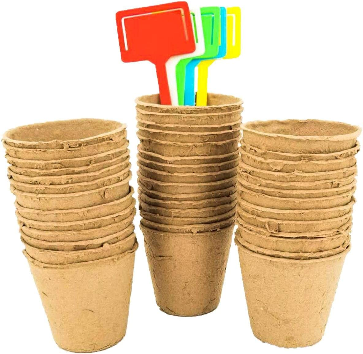 Seed Starter peat Pots KIT |100% Organic Biodegradable | Cup for Planting Vegetable and Tomato seeds |10 FREE TAGS INCLUDED | 3,5 Inch - 50 PCS | ECO-FRIENDLY