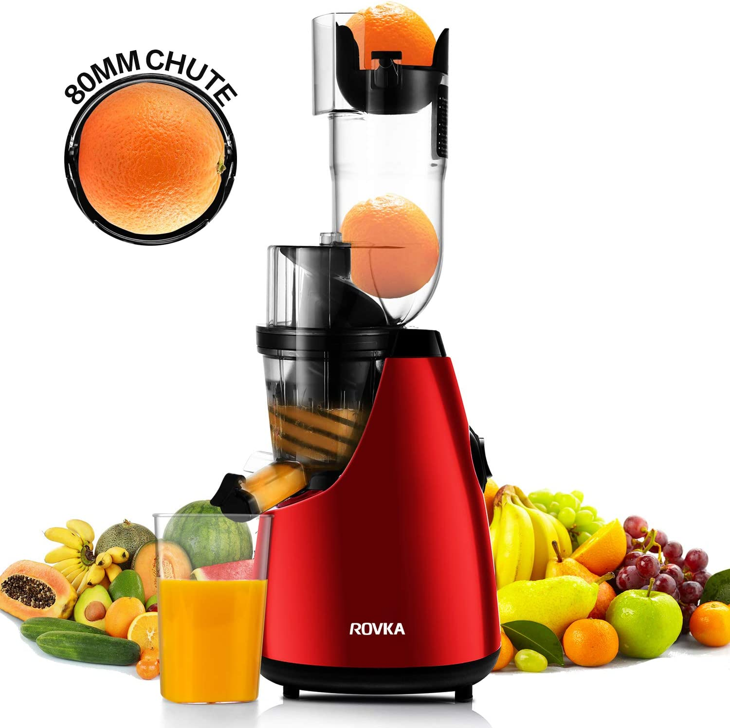 ROVKA Slow Masticating Juicer Extractor with 3.15 Inches Wide Chute Cold Press Juicer for Clean, High Juice Yield for Fruit and Vegetable