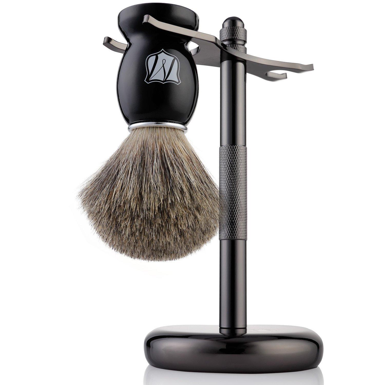 Badger Hair Shaving Brush and Shaving Stand Set, Matte Black Stand, Black Brush UK Plaque