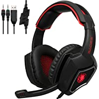 2019 New SADES Spirit Wolf 3.5mm Wired Stereo Gaming Headset Headband Headphones with Microphone Deep Bass Over-the-Ear Noise Isolating Volume Control LED Lights For PC Gamers (Black Red)