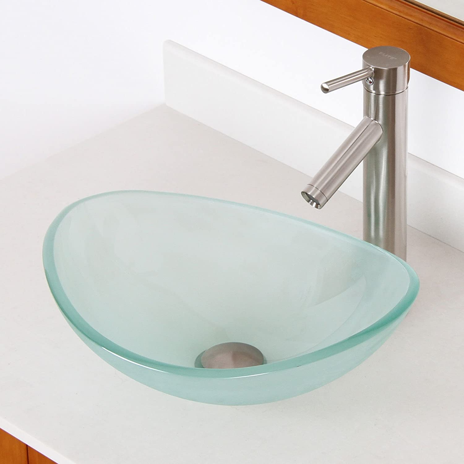 Bathroom available in 5 finishes vessel bathroom sinks msrp 425 - Mini Tempered Glass Boat Shaped Oval Bowl Bottom Vessel Bathroom Sink Sink Finish Frosted Amazon Com