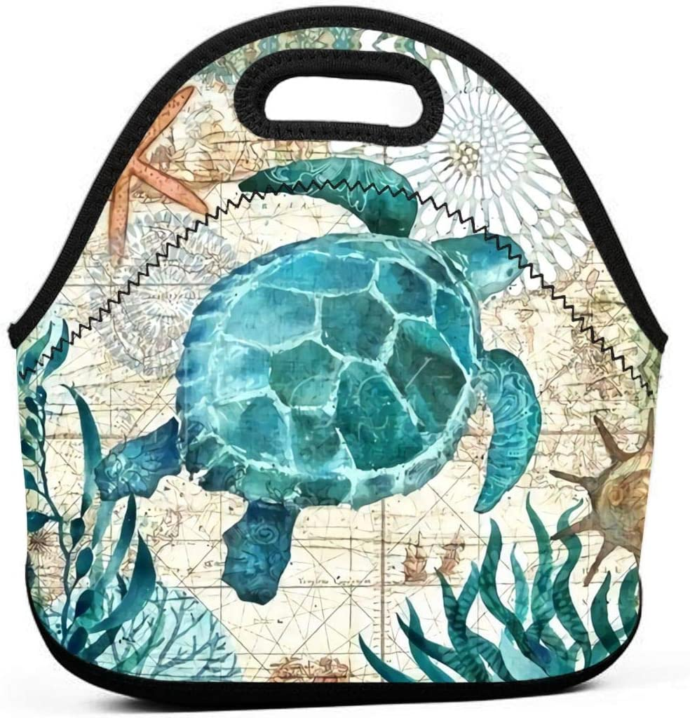 Marine Life Theme Sea Turtle Insulated Neoprene Lunch Bag Tote Handbag lunchbox Food Container Gourmet Tote Cooler warm Pouch For School work Office