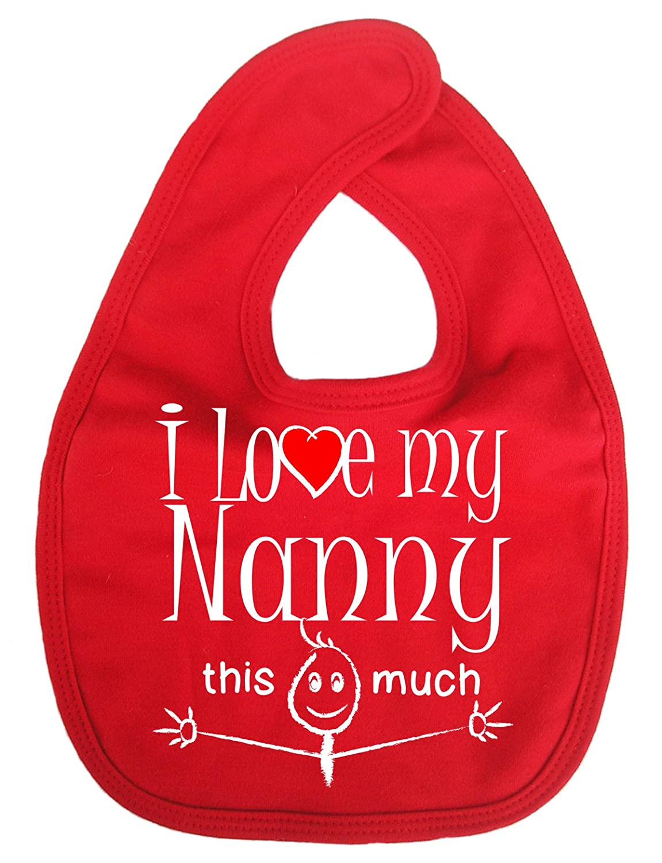 Dirty Fingers, I love my Nanny this much, Baby Unisex Bib, Fuchsia DFBIBnannymuchFuch
