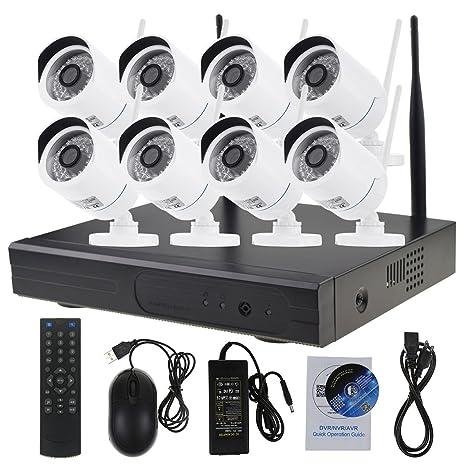 Conjunto de cámara de seguridad Wlan 8CH 720P HD Cámara de seguridad inalámbrica para interiores y