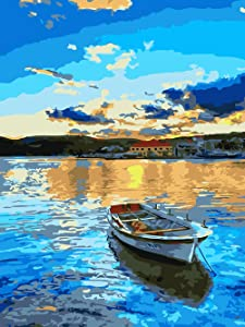 "DIY Oil Painting, 321OU DIY Paint by Numbers, 16x20 Inch Canvas Rolled Creative DIY Oil Painting Gift Canvas Oil Painting Kit for Adults Kids Beginners Home Decoration (16"" W x 20"" L)"