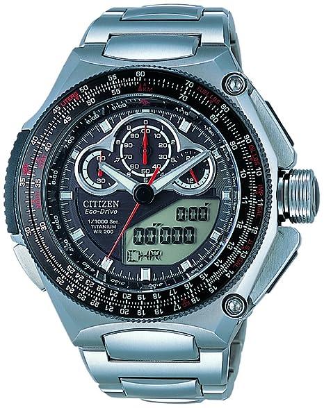 Citizen JW0071-58E - Reloj analógico - digital de cuarzo para hombre, correa de titanio color plateado: Amazon.es: Relojes
