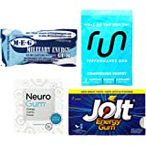 Ultimate Caffeine Gum Sampler - 4-Pack Bundle - Neuro Gum, Jolt Energy, Run Gum, Military Energy Gum