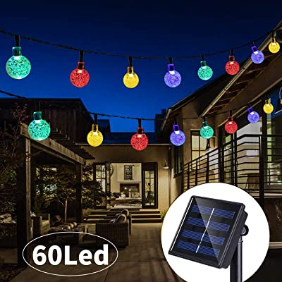 36 Ft 60Led Solar String Lights Globe Crystal Balls Waterproof LED Fairy Lights for Garden Yard Home Party Wedding Decoration Multi Color : Garden & Outdoor