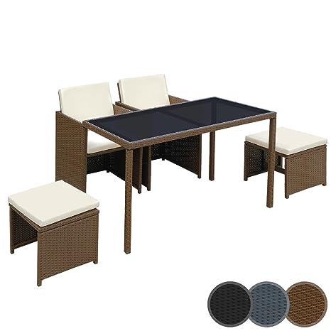 Miadomodo – Conjunto de muebles para jardín - 1 mesa de comedor, 2 sillas y