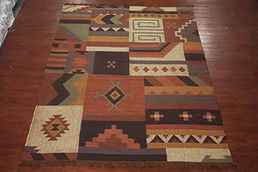 Amazon Com 10x12 Patchwork Jute Kilim Area Rug Hand Woven Vegetable Dyed Natural Fiber Carpet 10 X 12 Kitchen Dining