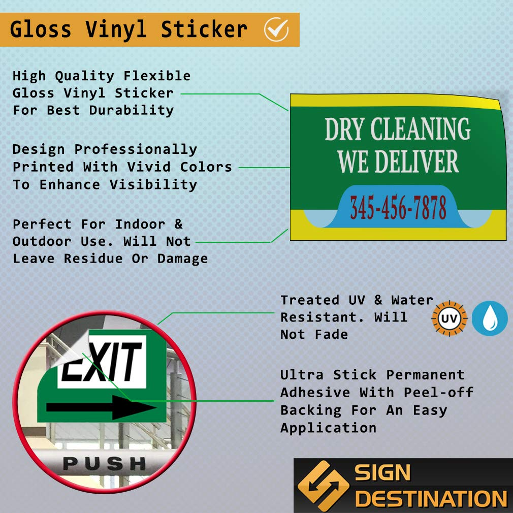 Custom Door Decals Vinyl Stickers Multiple Sizes Dry Cleaning We Deliver Phone Number Business Dry Clean Outdoor Luggage /& Bumper Stickers for Cars Green 52X34Inches Set of 2