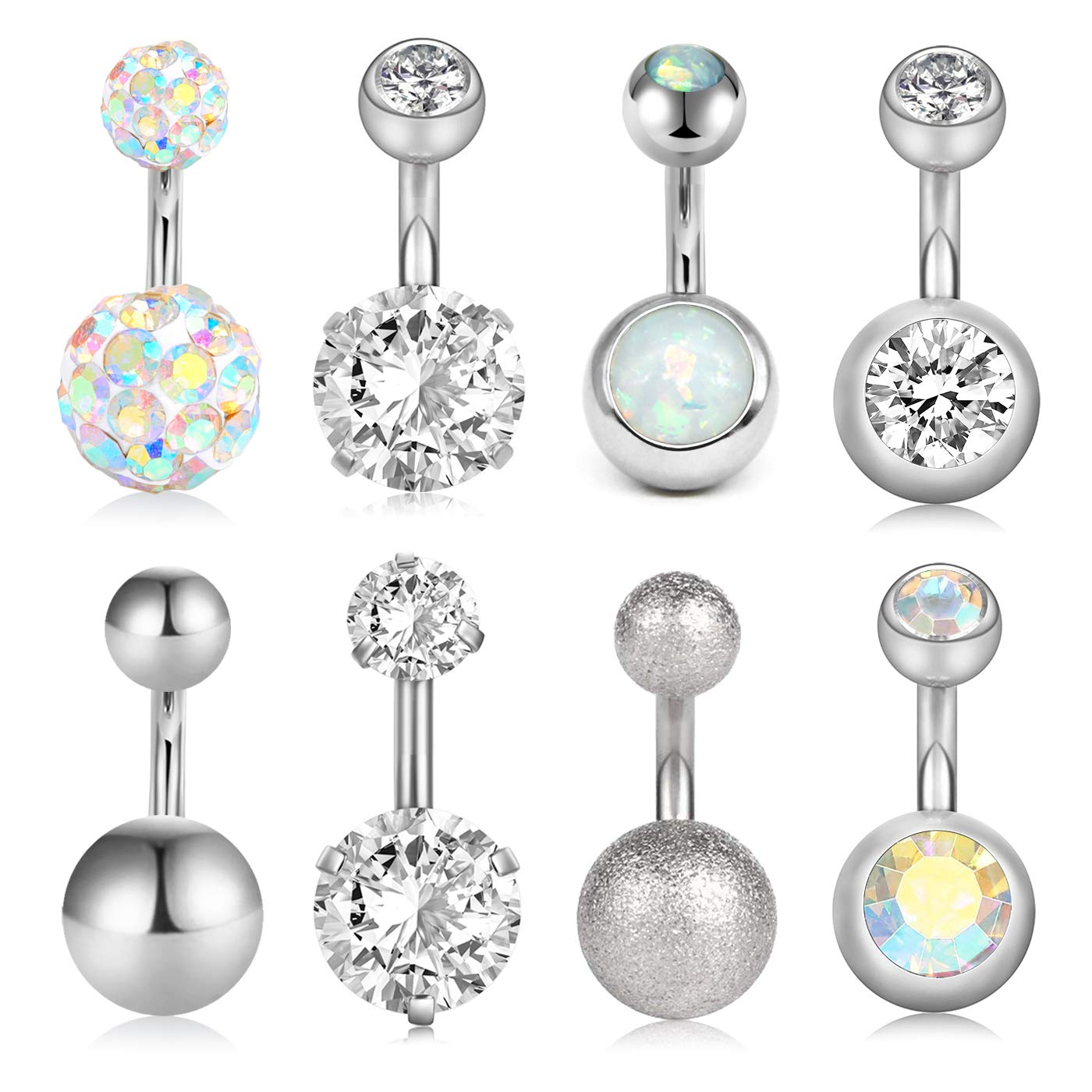 VCMART 8Pcs Short Belly Button Rings 14G Stainless Steel for Women Girls Navel Belly Rings Crystal CZ Barbell Body Piercing 6mm Bar by VCMART