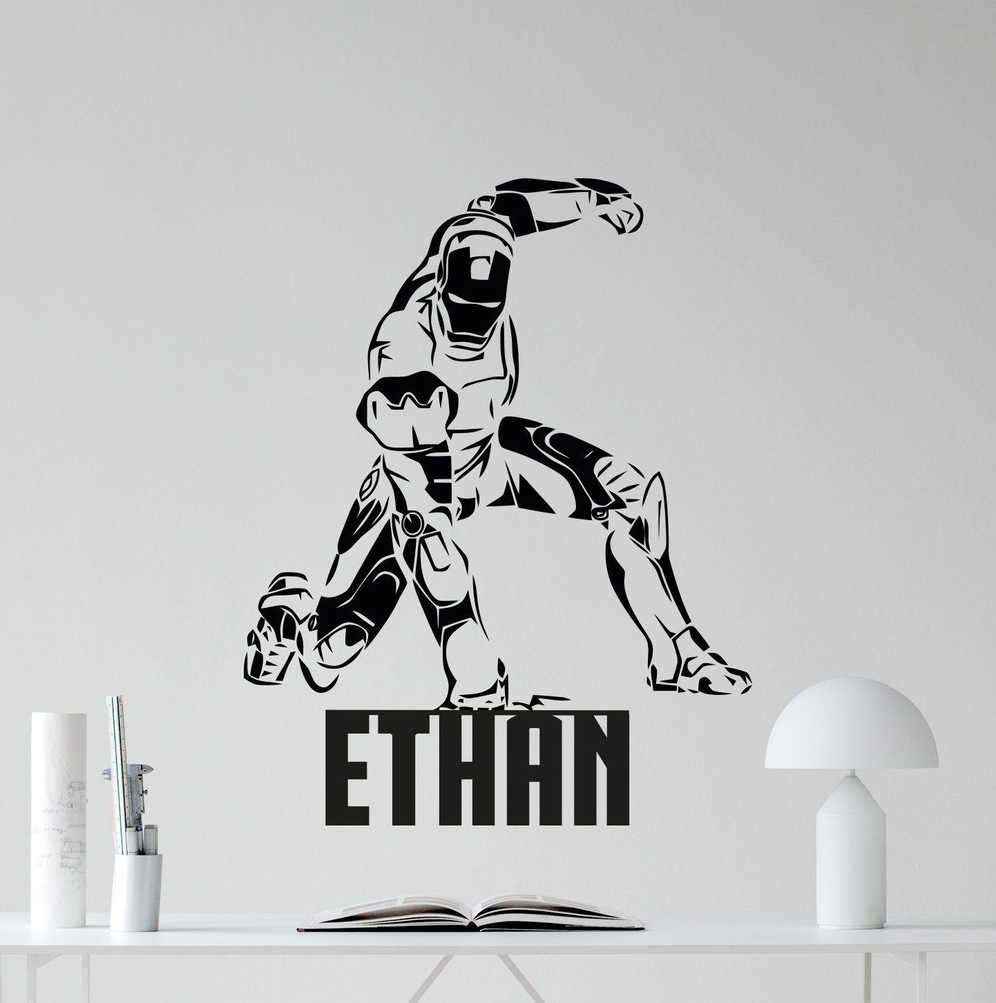 Personalized iron man wall decal custom name superhero avengers stencil poster marvel comics tony stark superheroes vinyl sticker cool movie wall art kids