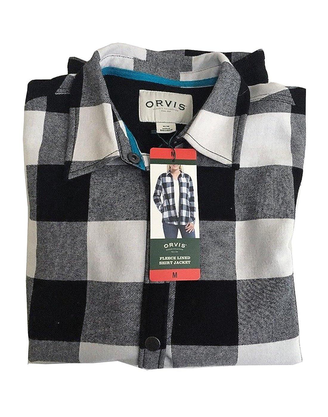7c1cc1805a5 Orvis Womens Fleece Lined Flannel Shirt Jacket - Multicoloured - Medium   Amazon.co.uk  Clothing