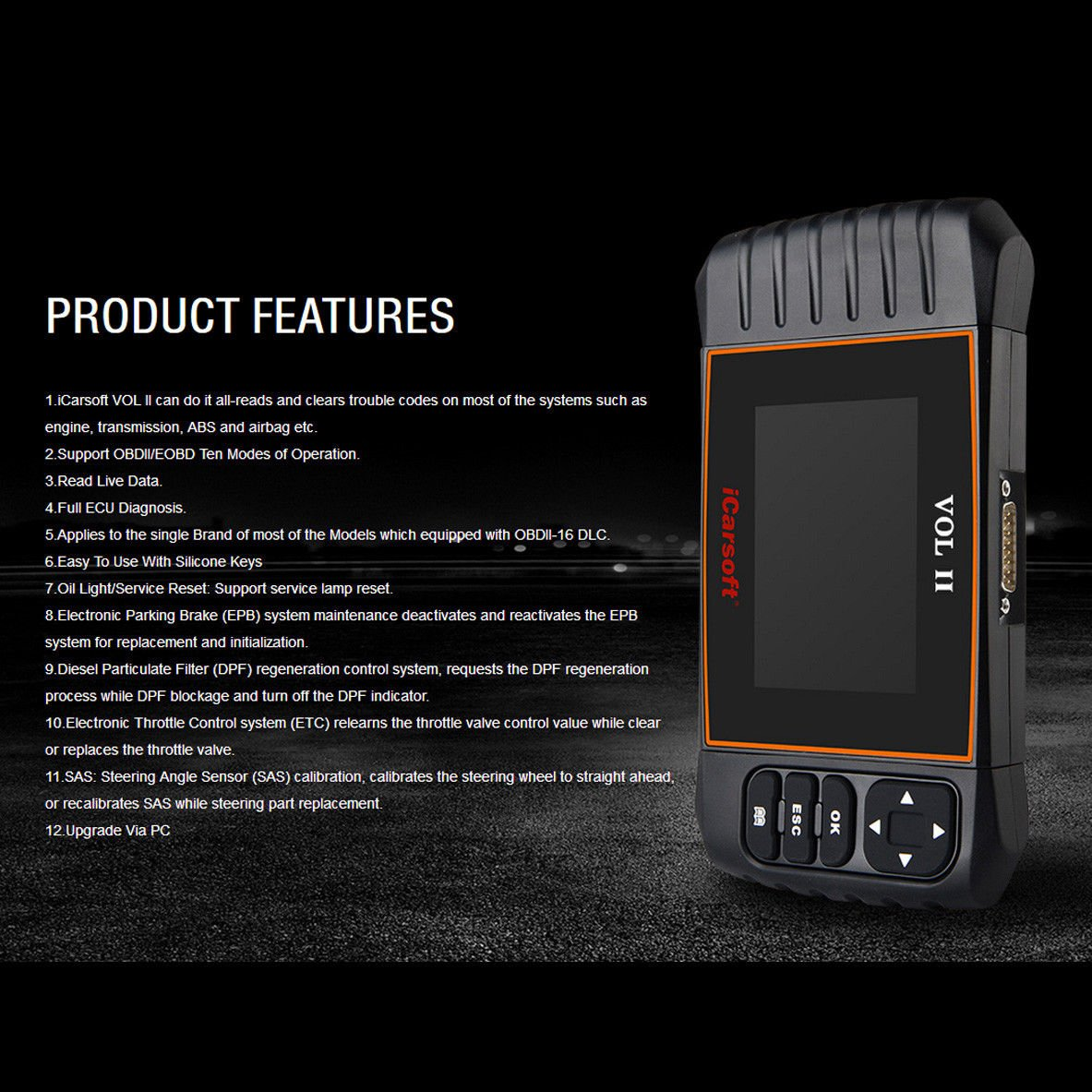 iCarsoft VOL II OBDII diagnostic tool for Volvo Saab multi systems, SRS ABS Engine oil reset, EPB by iCarsoft (Image #2)