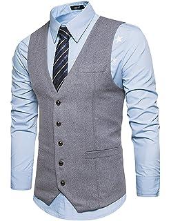 1dd80a7427d7 STTLZMC Leisure Élégant Homme Gilet Costume Veste Slim Fit sans Manches  Business Mariage(sans Chemise