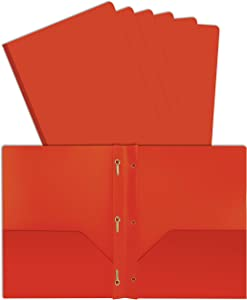 Better Office Products Orange Plastic 2 Pocket Folders with Prongs, Heavyweight, Letter Size Poly Folders, 24 Pack, with 3 Metal Prongs Fastener Clips, Orange