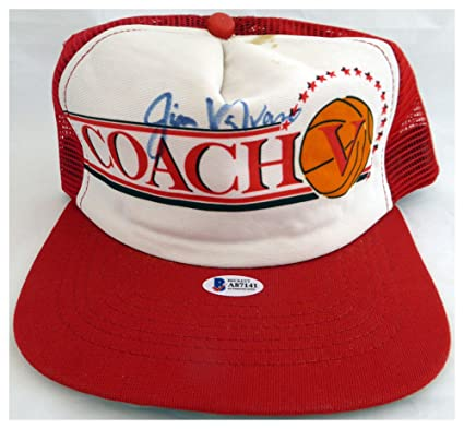 0b62698d Image Unavailable. Image not available for. Color: Jim Valvano Autographed  Signed Coach V Hat - Beckett Authentic