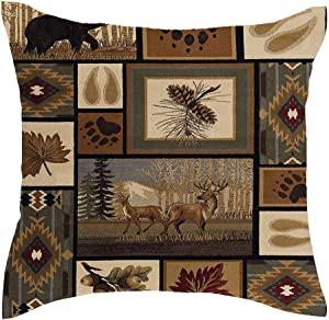 Jimrou Throw Pillow Cover 18x18inches Welcome to Cabin Elk Bear Deer Paw Prints Hunting Wild Animals Retro Farmhouse Cotton Linen Decorative Home Sofa Chair Car Square Throw Pillow Case Cushion Cover