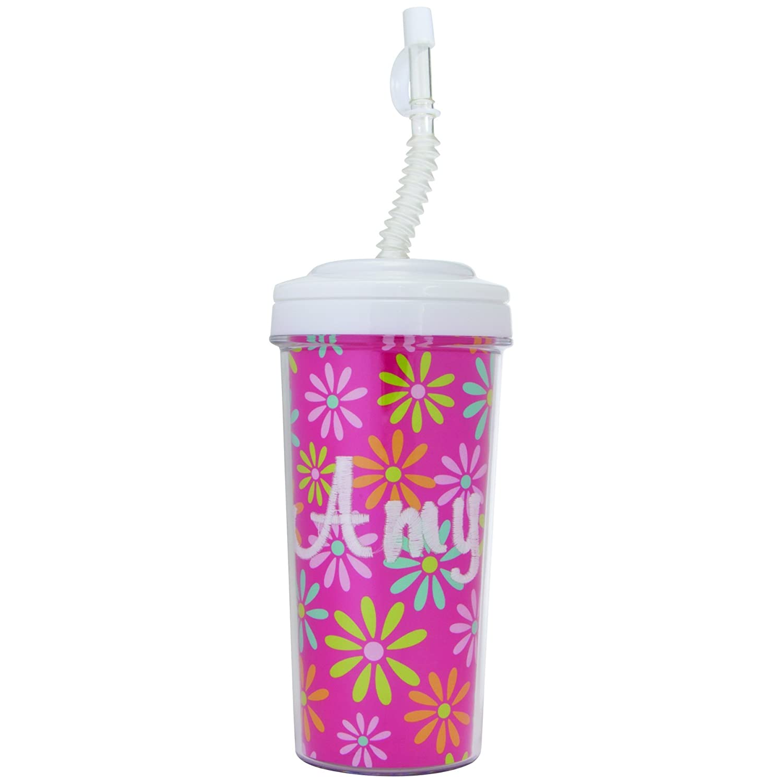 Neil Enterprises Inc Create Your Own Travel Tumbler with Bendy Straw COMINHKR076804 20 oz White