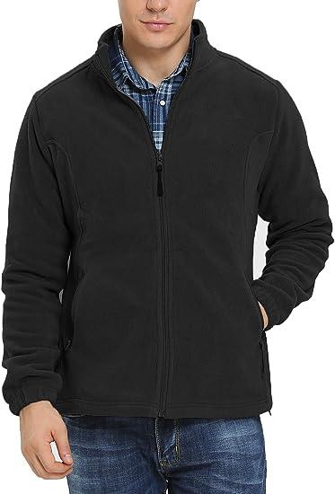 iloveSIA Men's Fleece Jacket Full Front Zip Casual Lightweight Polar Jacket  at Amazon Men's Clothing store